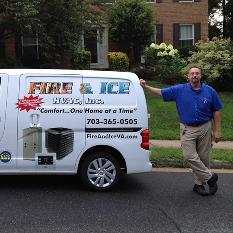 Fire & Ice HVAC staff standing next to a truck