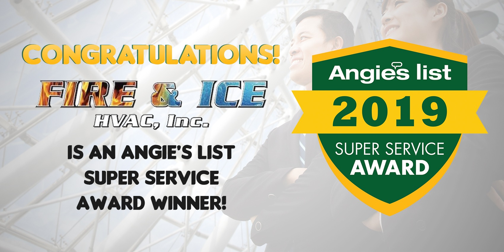 Fire & Ice HVAC, Inc. Earns 2019 Angie's List Super Service Award